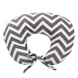 My Blankee Nursing Pillow with Chevron Minky Slipcover, Charcoal, Small/Medium