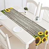 InterestPrint Autumn Sunflowers Wood Pattern Table Runner Cotton Linen Home Decor for Wedding Party Banquet Decoration 16 x 72 Inches