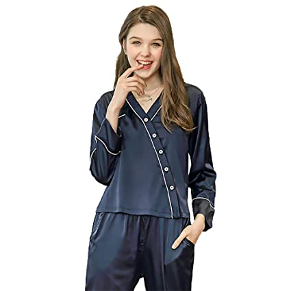 a0a6ce31c965dc Image Unavailable. Image not available for. Color  Women s Pajamas Satin  Nightgown Set Long Sleeve Button Shirt and Pants with Pocket Silk Casual  Wear