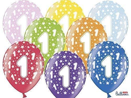 12 Piezas Balón Globos Colorido Número Uno 1 Año Primer Cumpleaños ...