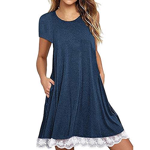 LIM&Shop Women Summer Tunic Dress Lace Trim Tank Dress Short Sleeves T-Shirt Dress with Pockets Blue