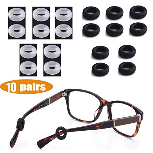 MOLDERP Silicone Eyeglasses Temple Tips Sleeve Retainer, Anti-Slip Round Comfort Glasses Retainers for Spectacle Sunglasses Reading Glasses Eyewear, 10 ()