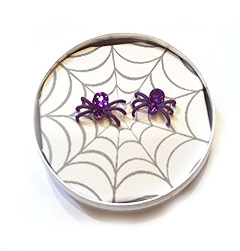 Black Widow Crystal Halloween Spider Earrings
