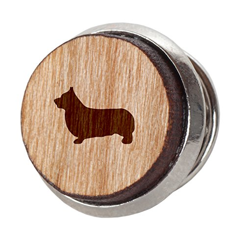 Pembroke Welsh Corgi Stylish Cherry Wood Tie Tack- 12Mm Simple Tie Clip with Laser Engraved Design - Engraved Tie Tack Gift