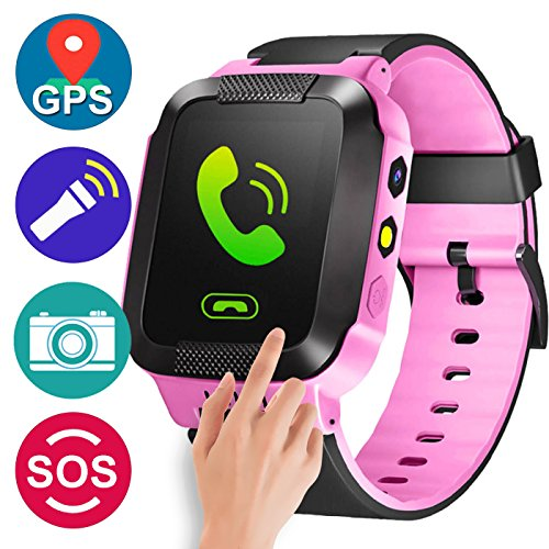 GBD GPS Tracker Kids Smart Watch for Children Girls Boys Summer Outdoor Birthday with Camera SIM Calls Anti-lost SOS Smartwatch Bracelet for iPhone Android Smartphone (PinkBlack)