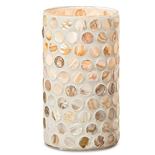 Whole House Worlds The Beach Chic Shell Inlay Dot Mosaic Candle Holder Vase, Lacquered Glass and Polished Circular Shells, For Pillars, Flowers or Votives, 5 D x 9 H Inches, By