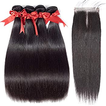 Image of ALLRUN Straight Hair 4 Bundles with Closure Middle Part Straight Human Hair Bundles with Closure Natural Black Color (20 22 24 26+18closure) Health and Household