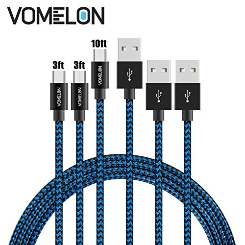 Micro USB Cable, 3Pack [2x3FT+10FT] Nylon Braided Tangle-Free High Speed Sync and Charge Cable for Samsung Galaxy S6,Huawei, (Lg Google Tv)