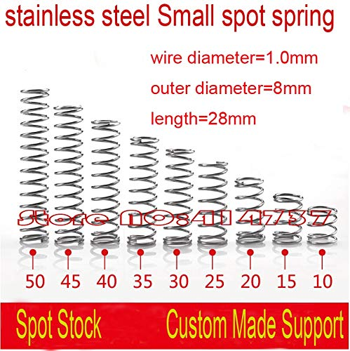 Jienie 50pcs 1.0828mm stainless steel Small spot spring 1.0mm wire micro spring compression spring pressure spring OD=8mm