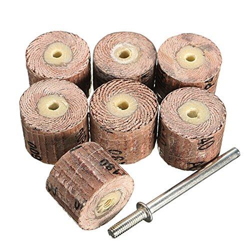 Wishfive, 7 rotoli di carta abrasiva lamellare, grana 80-600 grit, con mandrino da 3,175 mm, per la rotazione della smerigliatrice GAIQI