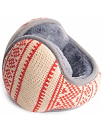 YOMOSI Unisex Foldable Knit Polar Fleece Knitting Ear Warmers,Winter Outdoor EarMuffs Various Color (pink)