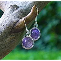 Recycled Early 1900's Purple Medicine Bottle Glass Color Dot Earrings