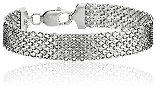 Sterling Silver 12mm Italian Mesh Bracelet 925 Sterling Silver Figure