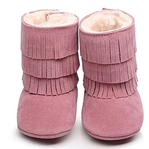 Ouneed® Krabbel schuhe , Herbst Winter Baby Keep Warm cute Tassels Soft Sole Snow Boots Soft Crib Shoes Toddler Boots Rosa
