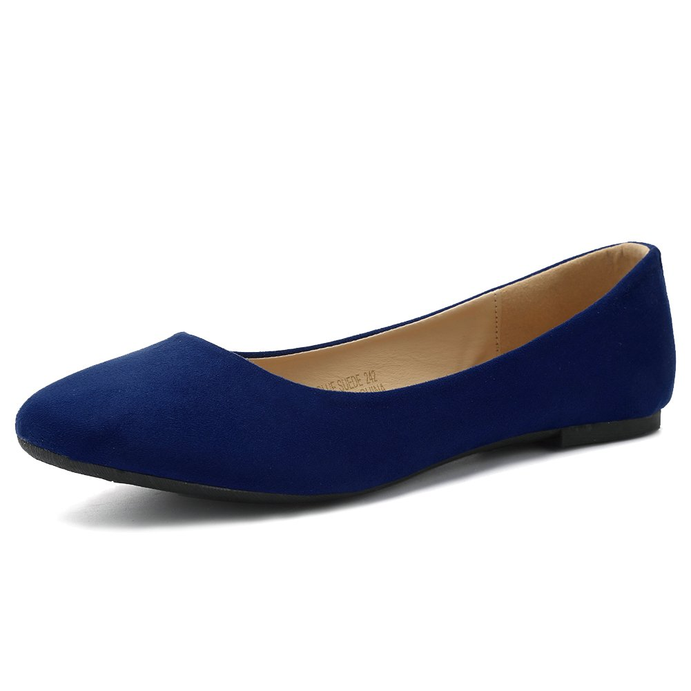 CIOR Women BalletFlats Classy Girls Simple Casual Slip-on Comfort Walking Shoes from Merence,BlueSuede,250,7.5M