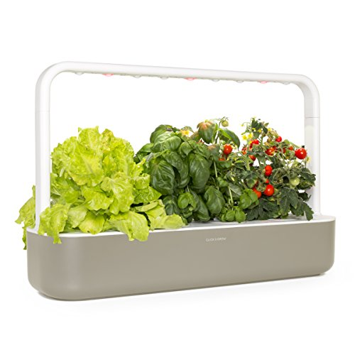 (Click and Grow Smart Garden 9 Indoor Home Garden (Includes 3 Mini Tomato, 3 Basil and 3 Green Lettuce Plant pods), Beige )