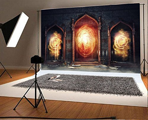 (Laeacco Backdrop 7x5ft Vinyl Photography Background Dark Chamber with Magic Mirrors Books and Scrolls Backdrop Candle Spooky Night Castle Arch Door Flame Backdrop Photo Portrait Shoot Video Prop)