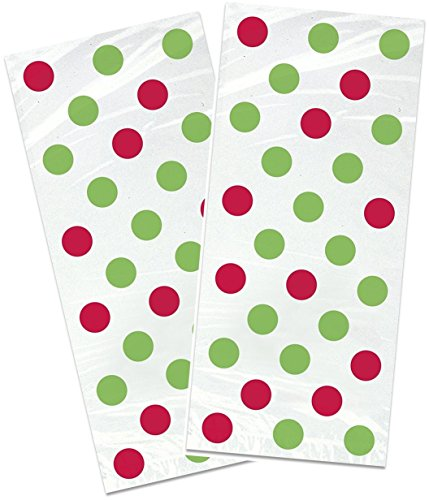 Holiday Clear Cellophane Treat Bags With Red And