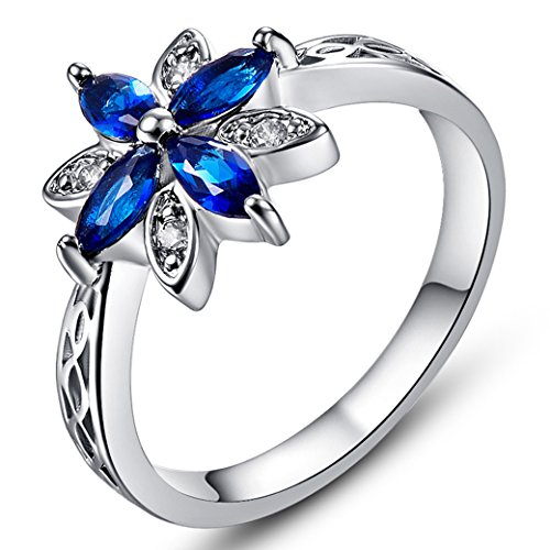 (Veunora 925 Sterling Silver Created Marquise Cut Sapphire Quartz Filled Flower Ring Size 11)