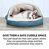 Furhaven Pet Dog Bed - Orthopedic Round Cuddle Nest Faux Sheepskin Snuggery Blanket Burrow Pet Bed with Removable Cover for Dogs and Cats, Blue, 26-Inch