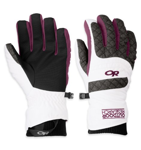 Outdoor Research Women's Riot Gloves, White/Charcoal/Orchid, Medium