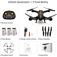 Beyondsky Jetblack Foldable Selfie Quadcopter Drone 3 Batteries Compact Smart FPV Drones 2.4GHz with 120° FOV 720P HD Camera Video Kids Gifts