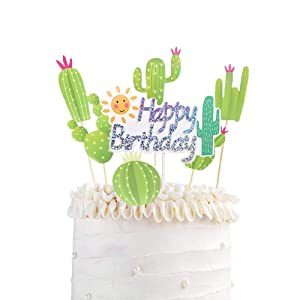 Cactus Happy Birthday Cake Topper Cactus Cupcake Toppers Picks Luau Cake Topper Decor for Hawaiian Luau Themed Party Supplie Bridal Shower Tropical Summer Cake Decoration