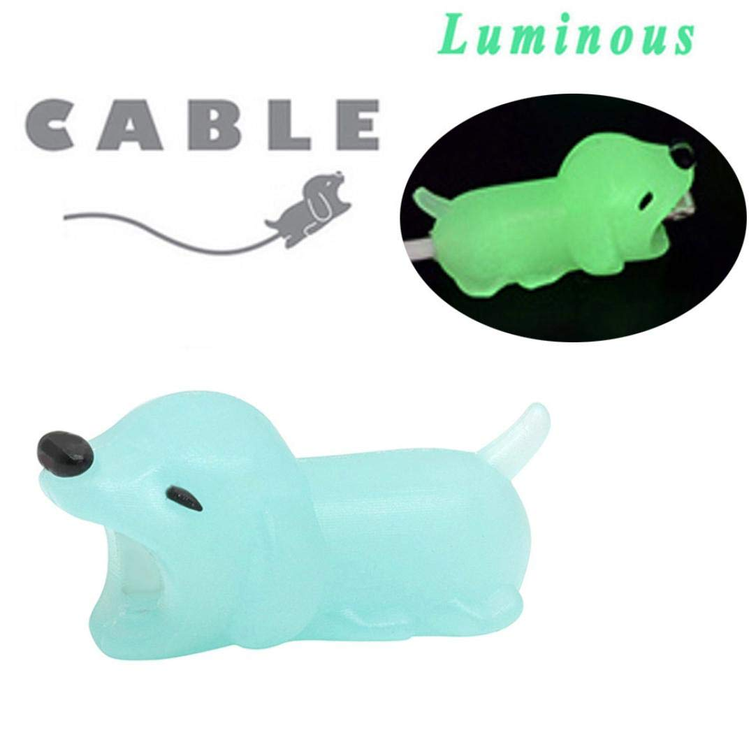 Gbell Cute Luminous Glow in The Dark Animals Cable Accessory Line Bite for Phone Cable Cord - Silicone Cable Accessory Protector for iphone Android for Kids Adults Phone