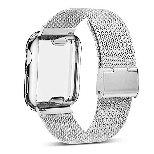 YC YANCH Compatible with Appla Watch Band 40mm with Case, Stainless Steel Mesh Band with Appla Watch Screen Protector Compatible with iWatsh Appla Watch Series 1/2/3/4 (40mm Silver)
