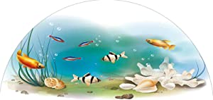 Frosted Privacy Arched Window Film, Hawaiian Pacific Fauna with Different Fishes Oceanic Plants and Seashells Decorative Stained Glass Film Frosted Privacy Window Decal for Home & Office, 28 inches