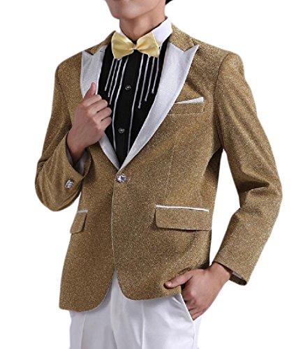 BSTBUWIN Men Sequin 1 Button Slim Fitted Wrap Lapel Shiny Fashion Suit Yellow L