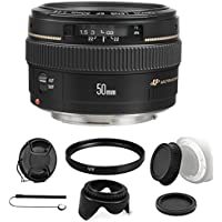 Canon EF 50mm f/1.4 USM Standard Lens for Canon SLR Cameras with Camera Accessories