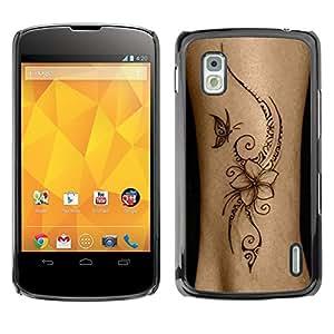 For LG Google NEXUS 4 / Mako / E960 Case , Bird Floral Butterfly Skin Ink Flower - Diseño Patrón Teléfono Caso Cubierta Case Bumper Duro Protección Case Cover Funda