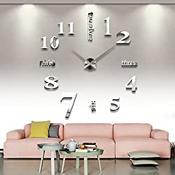 Yesurprise Large Wall Clock Modern Mute 3D Frameless Mirror Surface DIY Room Home Office Decorations - Silver