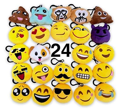 O'Hill 24 Pack Emoji Plush Pillows Mini Keychain Decorations