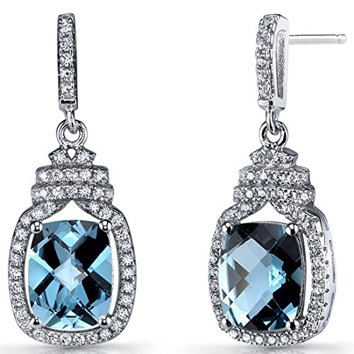 London Blue Topaz Halo Crown Dangle Earrings Sterling Silver 4.5 Carats -