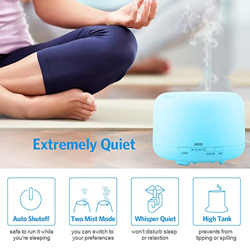 AMIR 500ml Essential Oils Diffuser, Cool Mist Ultrasonic Humidifier with 10 Hours Continuous Mist, 4 Timer Settings,7 changing Color LED lights, for Spa, Baby Room, etc by AMIR (Image #2)