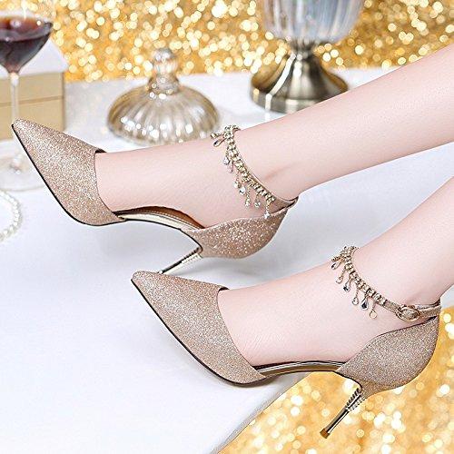 alto HUAIHAIZ Tacones Gold sandalias cristal altosLos tacón mujer de zapatos zapatos Baotou sandalias verano The de UgqxXTgw