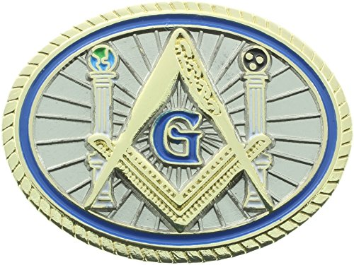 Masonic Oval Columns Pillars Globes Square and Compass Lapel Pin Plus Gift Pouch