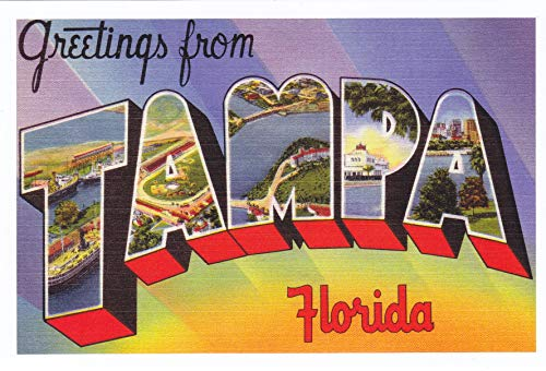 Greetings from TAMPA Florida POSTCARD [Reprint vintage Large Letter name postcard ca. 1930's-1940's ] from Hibiscus Express