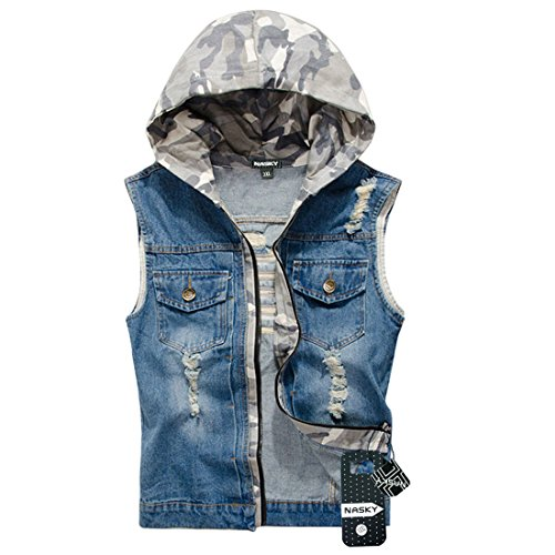 NASKY Men's Retro Ripped Jeans Demin Jacket Vest Camouflage Hooded Vest Waistcoat Top - Denim Camo