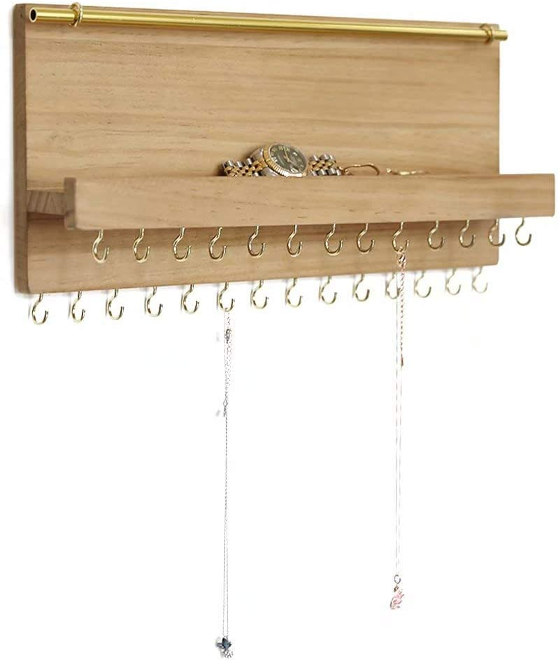 Bracelet SANY DAYO HOME Wall Mounted 15 x 10 inches Hanging Jewelry Organizer with 9 Rustic Wood Hooks Metal Mesh and Shelf for Necklace Removable Bar Burlywood Earring