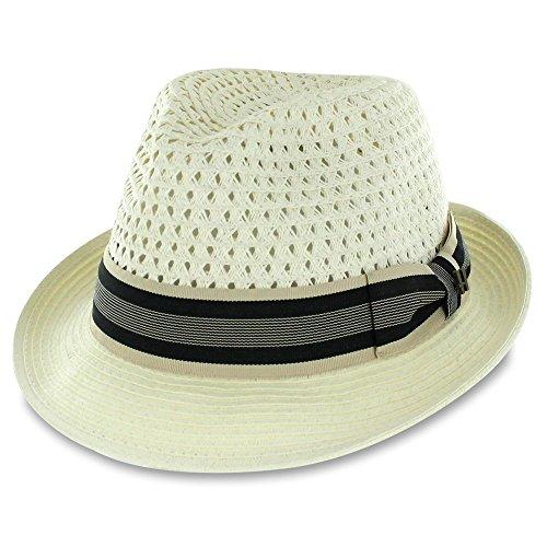 (Belfry Men/Women Summer Straw Trilby Fedora Hat in Blue, Tan, Black (Small,)