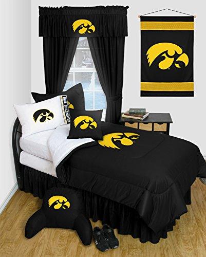 Iowa Hawkeyes 8 Pc FULL Comforter Set - Locker Room Series - Entire Set Includes: (1 Comforter, 1 Flat Sheet, 1 Fitted Sheet, 2 Pillow Cases, 2 Shams, 1 Bedskirt) (Iowa Full Bedskirt)