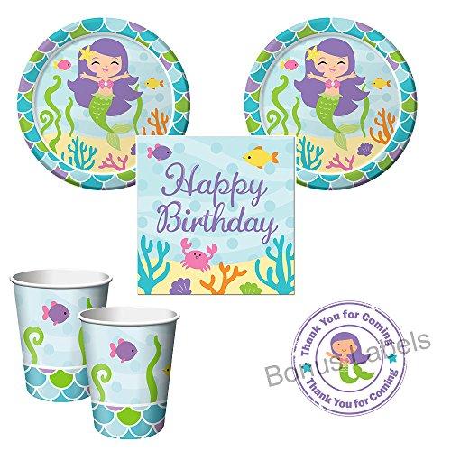 Razzle Dazzle Celebrations Mermaid Friends party pack for 16 guests, cake plates, napkins, cups plus bonus party favor labels