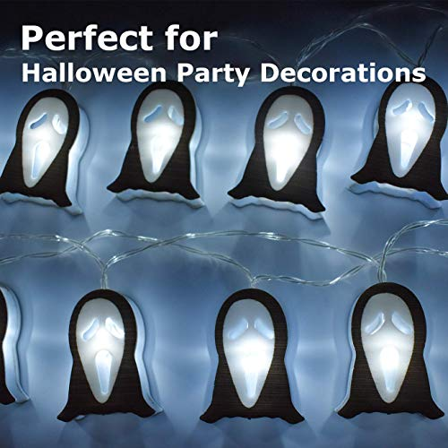 AIRERA Halloween Decorations, 3 Meters 20 LED String Lights, Waterproofed Spooky Black 2D Ghost Lantern, AA Battery Powered Lamps for Indoor Outdoor for Halloween Party Decor(White Cold Light