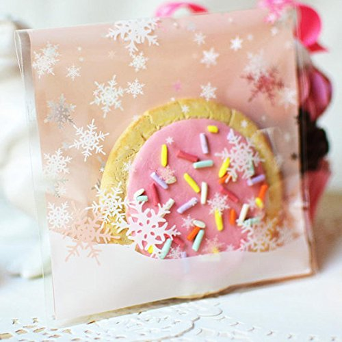 Charmed Christmas wreath plastic Cellophane Cookie treat Bags Self-Adhesive ,100 Counts 4 different colors (snowflakes)