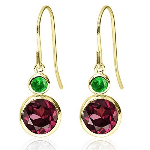 Rhodolite Yellow Earrings - 2.28 Ct Round Red Rhodolite Garnet Simulated Tsavorite 14K Yellow Gold Earrings