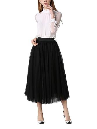 f6163a1876 DEBAIJIA Women's Maxi Skirt Pleated High Waist Elastic Ladies Net Yarn Long  Skirts Summer Plain -