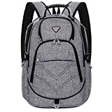 Laptop Backpack 18.4 Inch,SOCKO Nylon Water-Resistant Durable Travel Bag Hiking Knapsack Rucksack Backpack School College Student Shoulder Back Pack For 18-18.4 Inches Laptop Notebook Computer,Grey